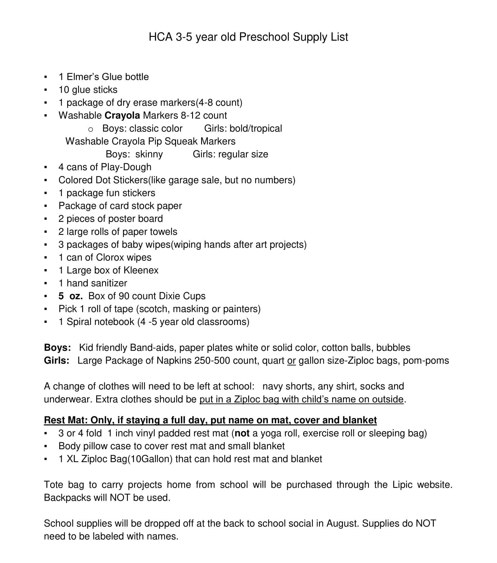 Holy Cross Academy | Preschool Supply Lists